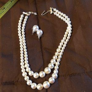 Vintage faux pearl double strand choker, earrings